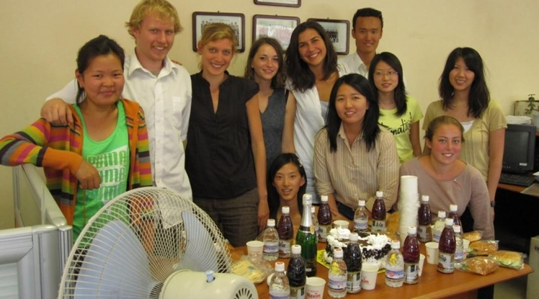 A Projects Abroad group pose at their placement during their Human Rights internships in Mongolia.
